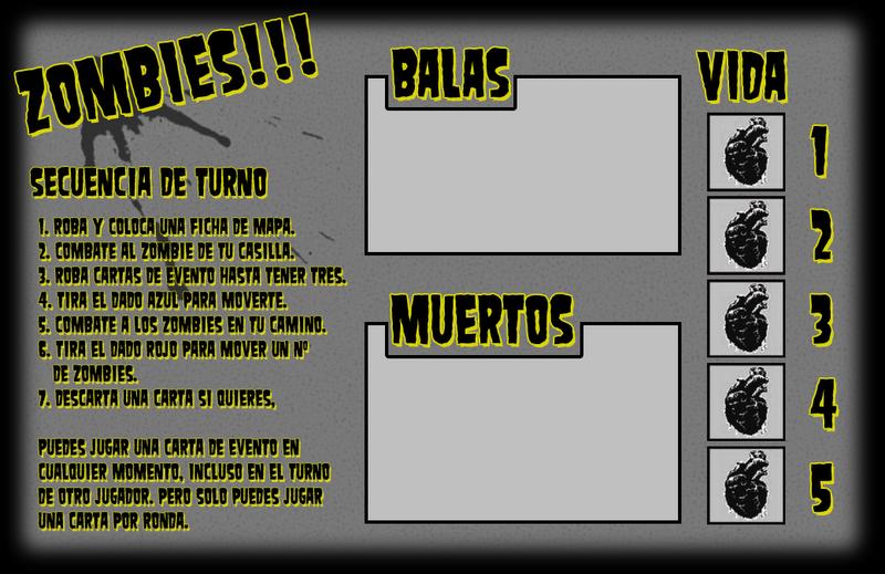 Tarjeta de juego para Zombies (juego de Tablero), ideal para fotocopia, alto contraste.